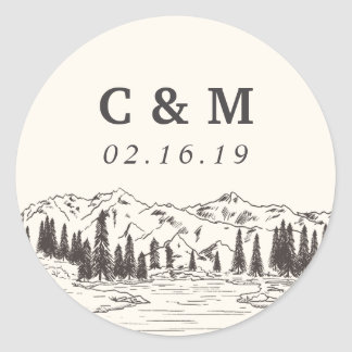 Mountain Sketch | Personalized Wedding Monogram Classic Round Sticker