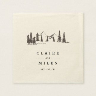 Mountain Sketch | Personalized Wedding Paper Napkins