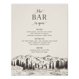 Mountain Sketch Wedding Bar Menu Sign