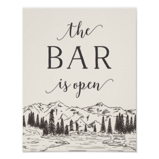 Mountain Sketch Wedding Bar Sign