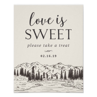 Mountain Sketch Wedding Dessert Table Sign