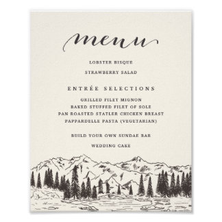 Mountain Sketch Wedding Menu Sign