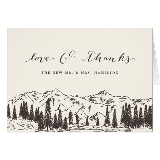 Mountain Sketch Wedding Thank You Card