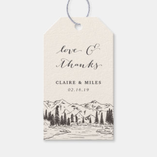 Mountain Sketch Wedding Thank You Gift Tags