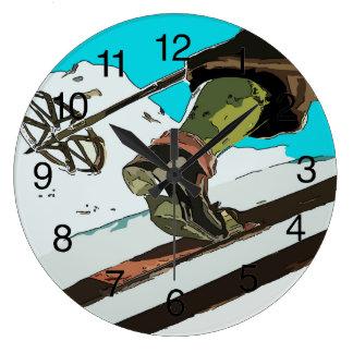 Mountain Ski, add text Large Clock