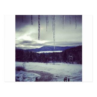 Mountain snow scape postcard