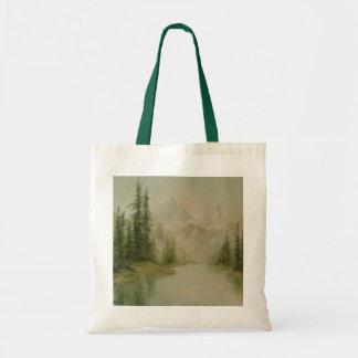 Mountain Spring Landscape Canvas Tote Bag