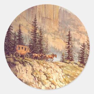 MOUNTAIN STAGECOACH by SHARON SHARPE Classic Round Sticker