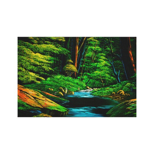 Mountain stream of dark green canvas print
