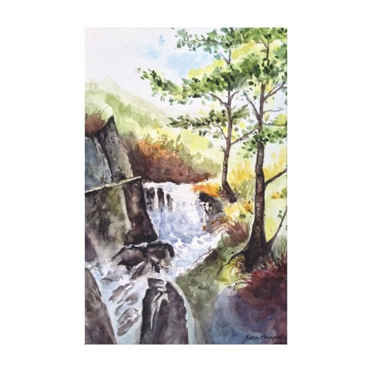 Mountain Stream Watercolor Canvas Print 14x22