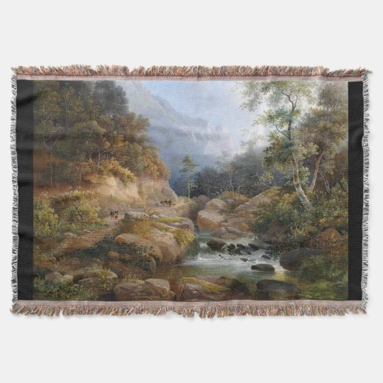 Mountain Stream Wilderness Forest Throw Blanket
