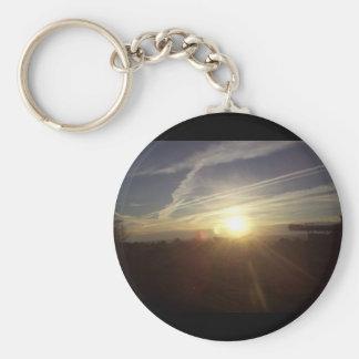 Mountain sunrise basic round button keychain