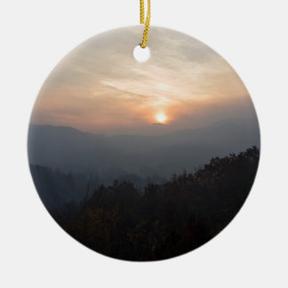 mountain sunset in a haze ceramic ornament