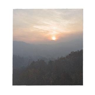 mountain sunset in a haze notepad
