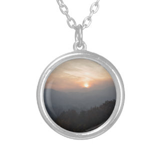 mountain sunset in a haze silver plated necklace