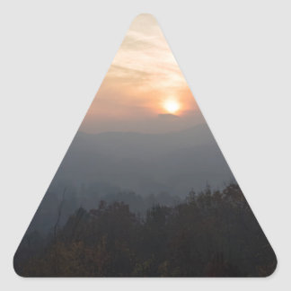 mountain sunset in a haze triangle sticker