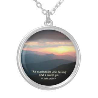 Mountain Sunset: Mtns calling Muir Template Round Pendant Necklace