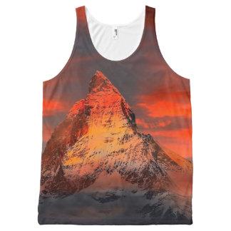 Mountain Switzerland Matterhorn Zermatt Red Sky All-Over-Print Tank Top