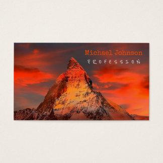 Mountain Switzerland Matterhorn Zermatt Red Sky Business Card