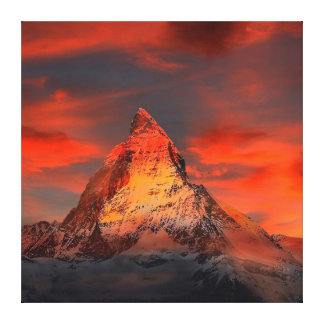 Mountain Switzerland Matterhorn Zermatt Red Sky Canvas Print