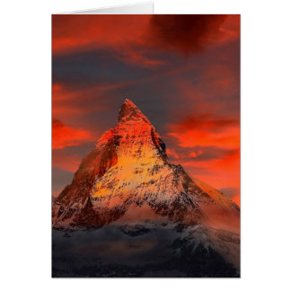 Mountain Switzerland Matterhorn Zermatt Red Sky Card