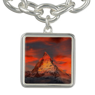 Mountain Switzerland Matterhorn Zermatt Red Sky Charm Bracelets