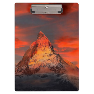 Mountain Switzerland Matterhorn Zermatt Red Sky Clipboards