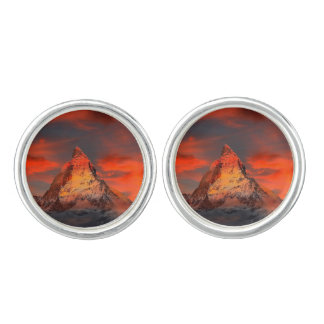 Mountain Switzerland Matterhorn Zermatt Red Sky Cufflinks
