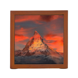 Mountain Switzerland Matterhorn Zermatt Red Sky Desk Organizer