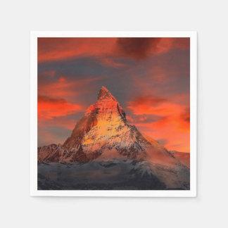 Mountain Switzerland Matterhorn Zermatt Red Sky Disposable Napkins