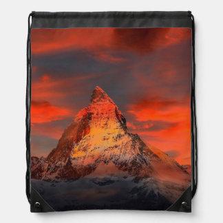 Mountain Switzerland Matterhorn Zermatt Red Sky Drawstring Bag
