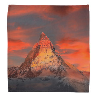 Mountain Switzerland Matterhorn Zermatt Red Sky Head Kerchief