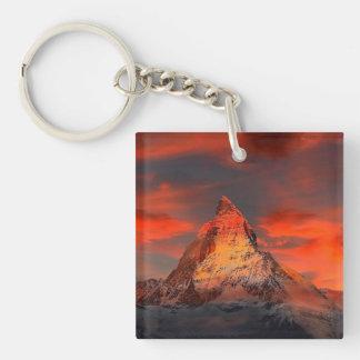 Mountain Switzerland Matterhorn Zermatt Red Sky Keychain