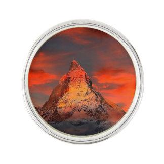 Mountain Switzerland Matterhorn Zermatt Red Sky Lapel Pin