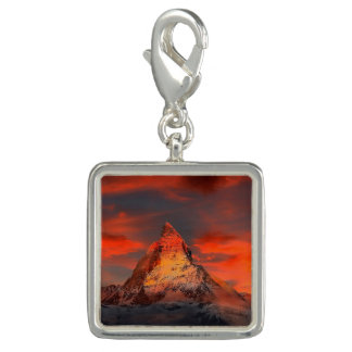 Mountain Switzerland Matterhorn Zermatt Red Sky Photo Charms