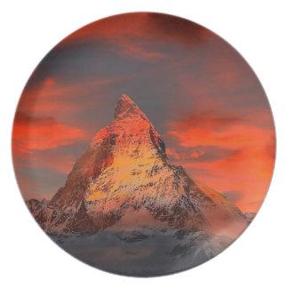 Mountain Switzerland Matterhorn Zermatt Red Sky Plate
