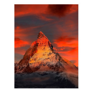 Mountain Switzerland Matterhorn Zermatt Red Sky Postcard