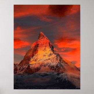 Mountain Switzerland Matterhorn Zermatt Red Sky Poster