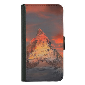 Mountain Switzerland Matterhorn Zermatt Red Sky Samsung Galaxy S5 Wallet Case