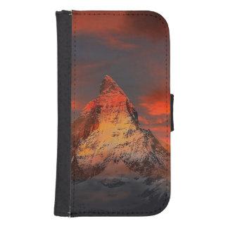 Mountain Switzerland Matterhorn Zermatt Red Sky Samsung S4 Wallet Case
