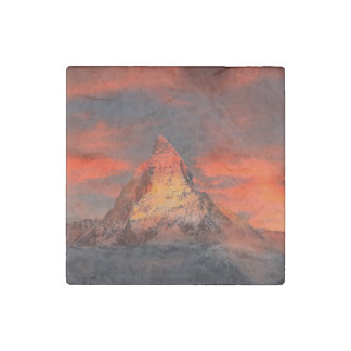 Mountain Switzerland Matterhorn Zermatt Red Sky Stone Magnets