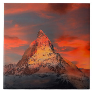 Mountain Switzerland Matterhorn Zermatt Red Sky Tile
