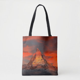 Mountain Switzerland Matterhorn Zermatt Red Sky Tote Bag