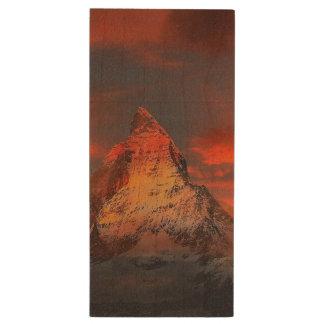 Mountain Switzerland Matterhorn Zermatt Red Sky Wood USB Flash Drive