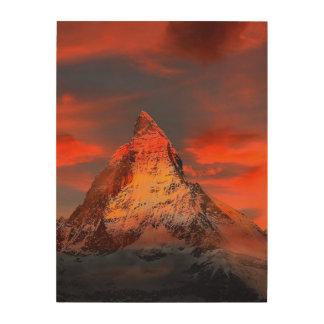 Mountain Switzerland Matterhorn Zermatt Red Sky Wood Wall Art