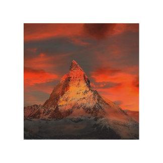 Mountain Switzerland Matterhorn Zermatt Red Sky Wood Wall Decor