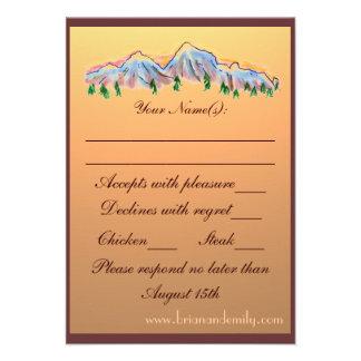 Mountain theme autumn wedding RSVP cards