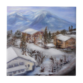 Mountain Top View of the Alps Ceramic Tile