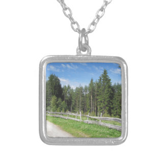 Mountain trail with wooden fence foreground silver plated necklace