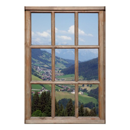 Mountain Valley View from a Window Posters